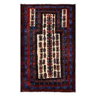 Herat Oriental Semi-antique Afghan Hand-knotted Tribal Balouchi Navy/ Beige Wool Rug (2'10 x 4'9)
