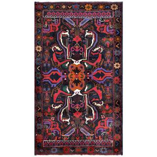Herat Oriental Semi-antique Afghan Hand-knotted Tribal Balouchi Navy/ Red Wool Rug (2'10 x 4'11)