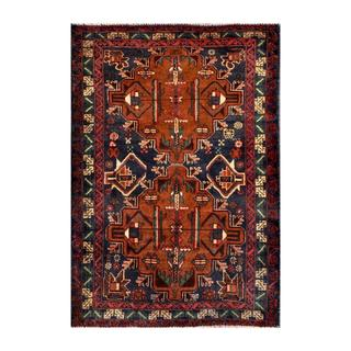 Herat Oriental Afghan Hand-knotted Tribal Balouchi Navy/ Brown Wool Rug (3' x 4'5)