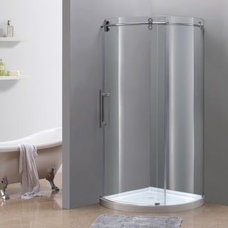 Aston Frameless 40-inch Round Left-opening Chrome Finish Shower Enclosure with Shower Base