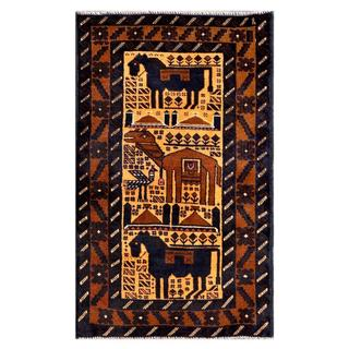 Herat Oriental Afghan Hand-knotted Tribal Balouchi Navy/ Brown Wool Rug (2'6 x 4'4)