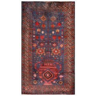 Hand-knotted Semi-antique Afghan Tribal Balouchi Navy/ Brown Wool Rug (2'8 x 4'7)