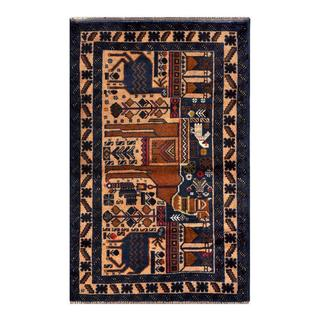 Herat Oriental Semi-antique Afghan Hand-knotted Tribal Balouchi Navy/ Brown Wool Rug (2'10 x 4'6)