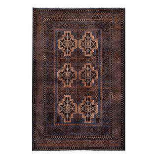 Hand-knotted Semi-antique Afghan Tribal Balouchi Navy/ Brown Wool Rug (2'8 x 4'2)