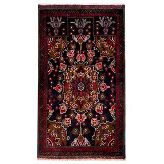 Herat Oriental Afghan Hand-knotted Tribal Balouchi Navy/ Red Wool Rug (2'5 x 4'2)