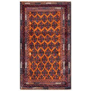 Herat Oriental Semi-antique Afghan Hand-knotted Tribal Balouchi Navy/ Orange Wool Rug (2'9 x 4'8)