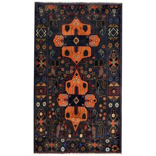 Herat Oriental Semi-antique Afghan Hand-knotted Tribal Balouchi Navy/ Rust Wool Rug (2'9 x 4'10)
