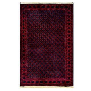 Herat Oriental Afghan Hand-knotted Tribal Balouchi Navy/ Red Wool Rug (2'8 x 4'4)