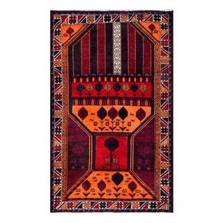 Herat Oriental Semi-antique Afghan Hand-knotted Tribal Balouchi Orange/ Navy Wool Rug (2'8 x 4'5)