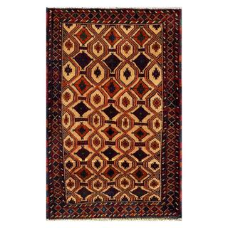 Herat Oriental Afghan Hand-knotted Tribal Balouchi Navy/ Rust Wool Rug (2'9 x 4'4)