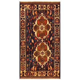 Herat Oriental Afghan Hand-knotted Tribal Balouchi Navy/ Gold Wool Rug (2'8 x 5'2)