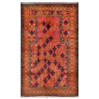 Herat Oriental Afghan Hand-knotted Tribal Balouchi Red/ Rust Wool Rug (2'9 x 4'7)