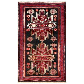 Herat Oriental Semi-antique Afghan Hand-knotted Tribal Balouchi Charcoal/ Maroon Wool Rug (2'10 x 4'8)