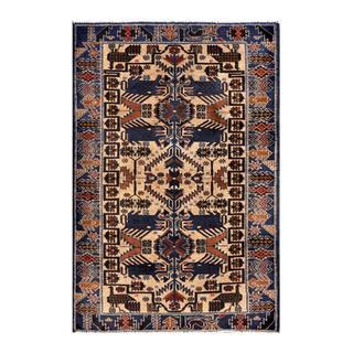 Herat Oriental Semi-antique Afghan Hand-knotted Tribal Balouchi Beige/ Blue Wool Rug (2'9 x 4'4)