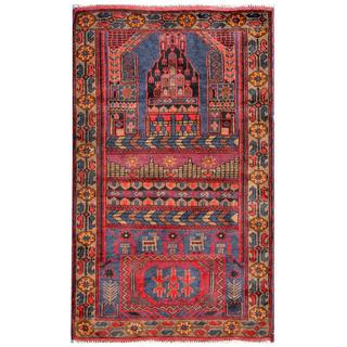 Herat Oriental Semi-antique Afghan Hand-knotted Tribal Balouchi Navy/ Red Wool Rug (2'7 x 4'6)