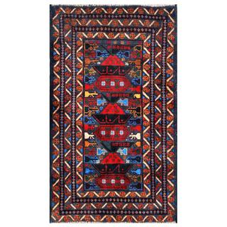 Herat Oriental Semi-antique Afghan Hand-knotted Tribal Balouchi Navy/ Red Wool Rug (2'6 x 4'4)