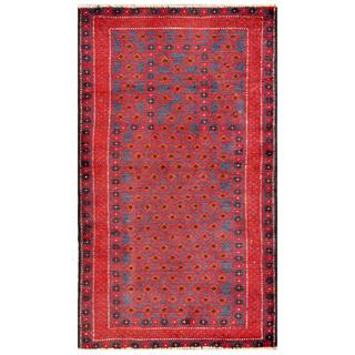 Herat Oriental Semi-antique Afghan Hand-knotted Tribal Balouchi Red/ Navy Wool Rug (2'8 x 4'7)