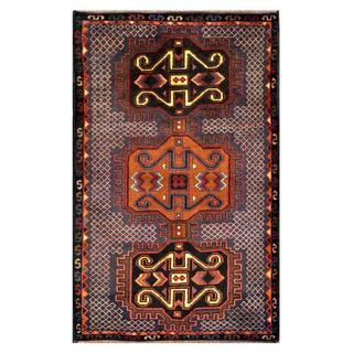 Herat Oriental Semi-antique Afghan Hand-knotted Tribal Balouchi Brown/ Grey Wool Rug (2'11 x 4'8)