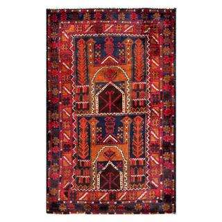 Herat Oriental Semi-antique Afghan Hand-knotted Tribal Balouchi Brown/ Navy Wool Rug (2'11 x 4'9)