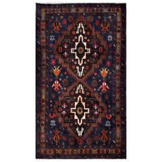 Herat Oriental Semi-antique Afghan Hand-knotted Tribal Balouchi Navy/ Brown Wool Rug (3' x 5'3)