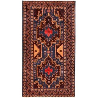 Herat Oriental Semi-antique Afghan Hand-knotted Tribal Balouchi Navy/ Brown Wool Rug (3'4 x 6'2)
