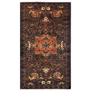 Herat Oriental Semi-antique Afghan Hand-knotted Tribal Balouchi Navy/ Brown Wool Rug (3'11 x 6'8)