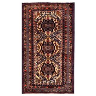 Herat Oriental Semi-antique Afghan Hand-knotted Tribal Balouchi Tan/ Navy Wool Rug (3'8 x 6'3)