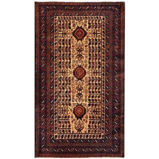 Herat Oriental Semi-antique Afghan Hand-knotted Tribal Balouchi Beige/ Brown Wool Rug (3'6 x 6'3)