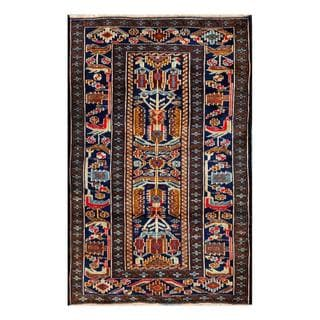 Herat Oriental Semi-antique Afghan Hand-knotted Tribal Balouchi Navy/ Brown Wool Rug (2'5 x 3'11)