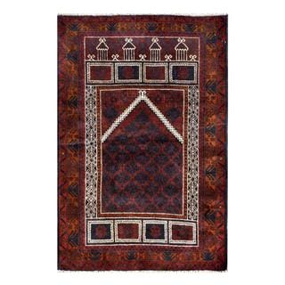 Herat Oriental Semi-antique Afghan Hand-knotted Tribal Balouchi Brown/ Navy Wool Rug (3'2 x 4'9)