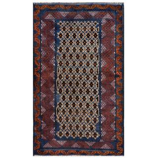 Herat Oriental Semi-antique Afghan Hand-knotted Tribal Balouchi Beige/ Navy Wool Rug (2'9 x 4'9)