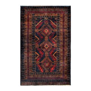 Herat Oriental Semi-antique Afghan Hand-knotted Tribal Balouchi Navy/ Copper Wool Rug (2'11 x 4'6)