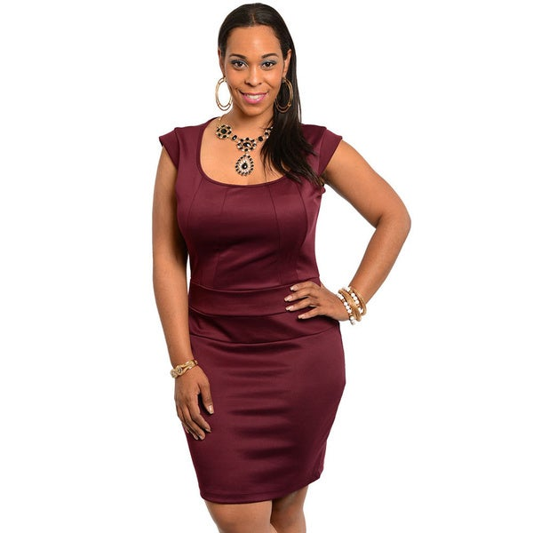 Shop The Trends Women's Plus Size Burgundy Stretch Fit Short Dress