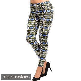 Feellib Women's Aztec Print Stretch Knit Leggings