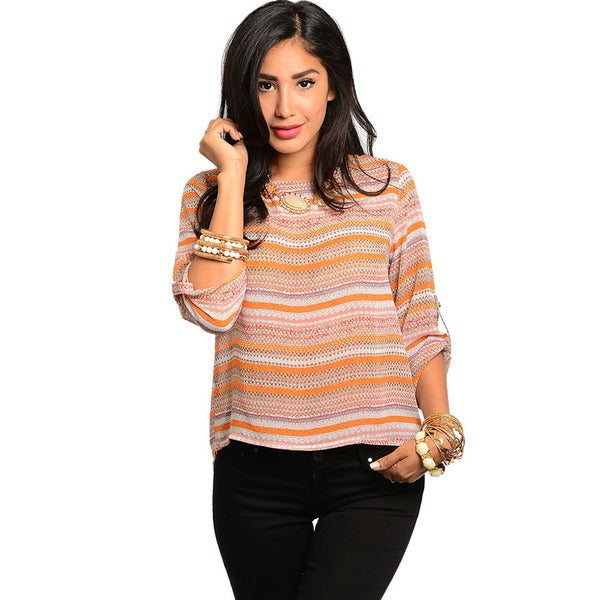 Shop The Trends Women's Orange and Ivory Striped Slit-back Top