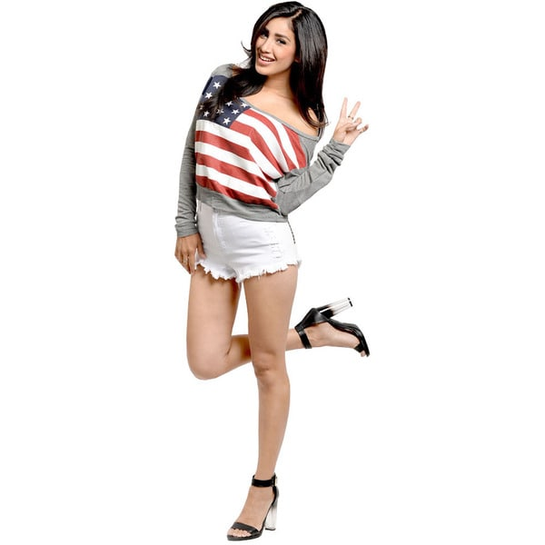 Shop The Trends Women's US Flag Off-the-Shoulder Sweater