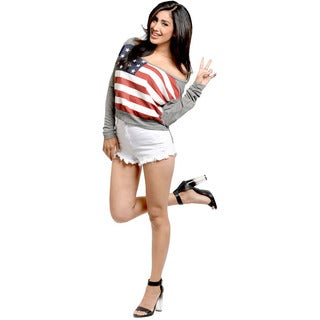 Feellib Women's US Flag Off-the-Shoulder Sweater