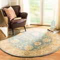 Safavieh Handmade Classic Blue/ Light Gold Wool Rug (6' Round)
