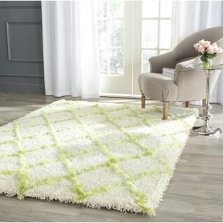 Safavieh Moroccan Shag Ivory/ Green Rug (8' x 10')