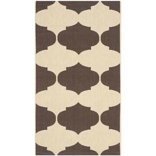 Safavieh Indoor/ Outdoor Courtyard Beige/ Chocolate Rug (2' x 3'7)