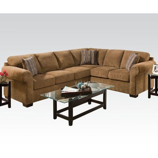 Berovo Walnut Fabric Corner Sectional Sofa