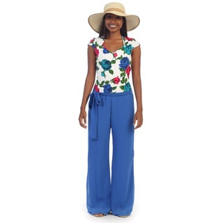 Hadari Women's Royal Blue and White Cap-sleeve Jumpsuit