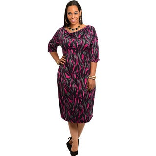 Feellib Women's Plus Size Abstract Pattern Quarter-sleeve Shift Dress