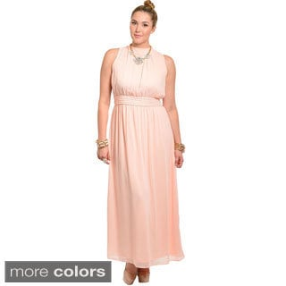 Feellib Women's Plus Size Sheer Chiffon Maxi Dress