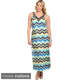Feellib Women's Plus Size Watercolor Zig-zag Print Halter Maxi Dress