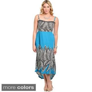 Shop The Trends Women's Plus Size Empire Cut High-low Maxi Dress