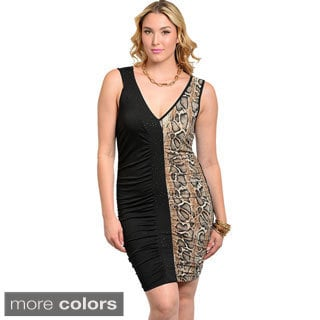 Feellib Women's Plus Size Sleeveless Knit Contrast Dress