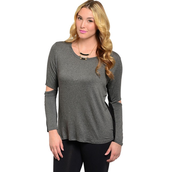 Shop The Trends Women's Plus Size Grey and Black Slit-elbow Long Sleeve Top