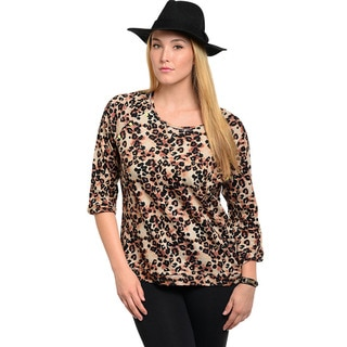 Feellib Women's Plus Size Animal Print Quarter-sleeve Top