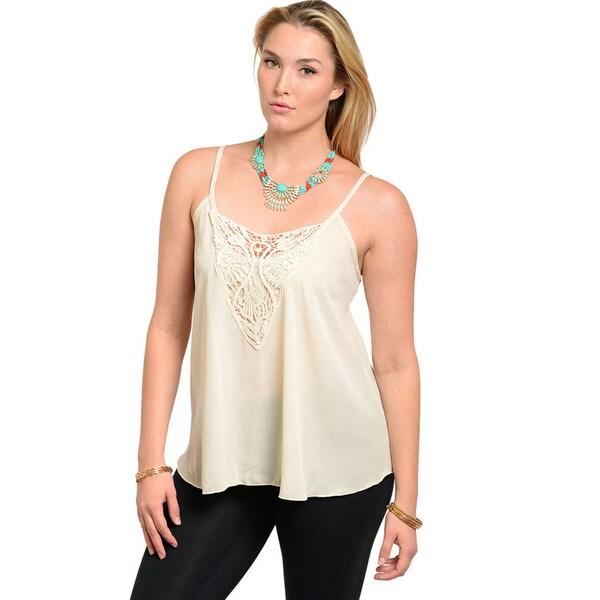 Feellib Women's Plus Size Ivory Crochet Neckline Chiffon Tank